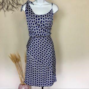 BANANA REPUBLIC tie blue and white midi dress
